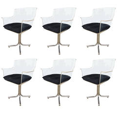 Set of Six Lucite and Chrome Chairs by Leon Rosen for Pace Collection