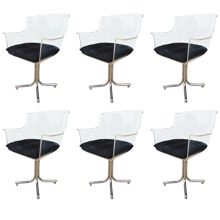 Set of Six Lucite and Chrome Chairs by Leon Rosen for Pace Collection For Sale