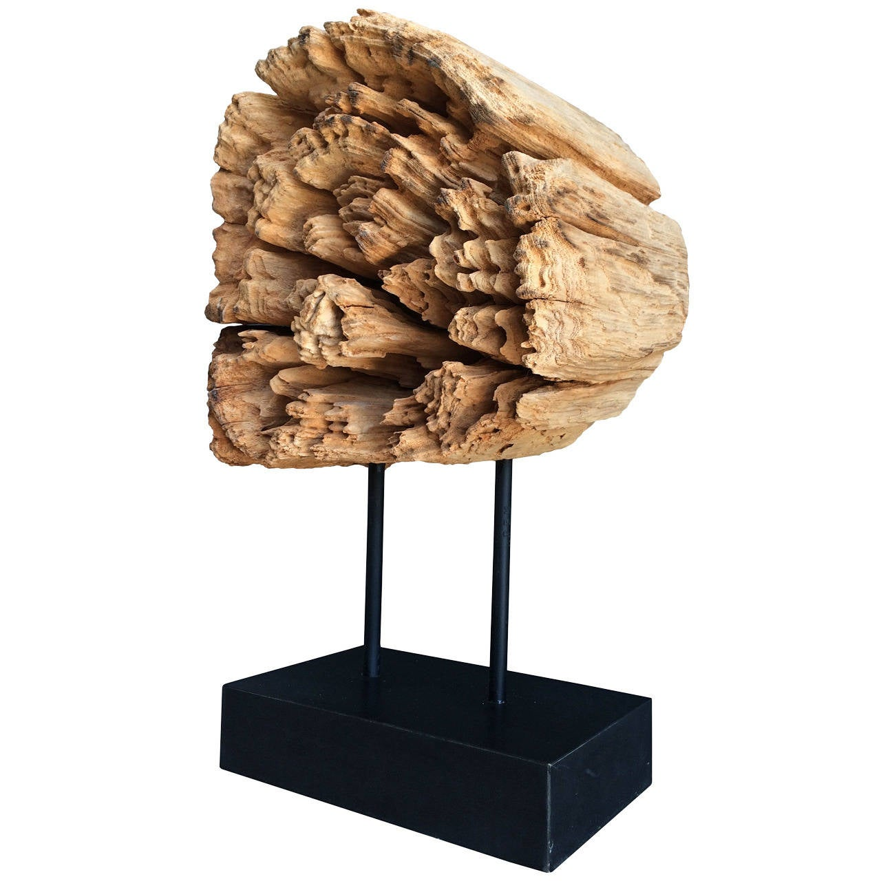Stunning wood sculpture on a metal stand for sale at stdibs