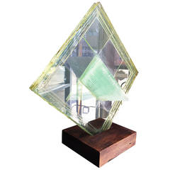Mid-Century Modern Lucite Glass Sculpture