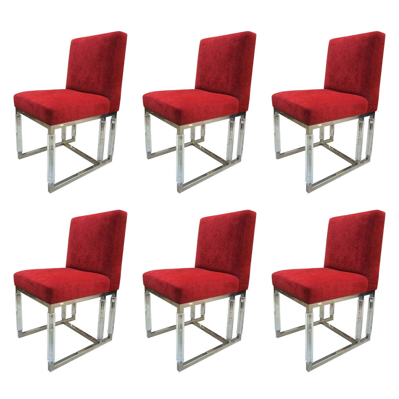 "Set of Six ""Metric"" Side Chairs in Nickel and Lucite by Charles Hollis Jones"