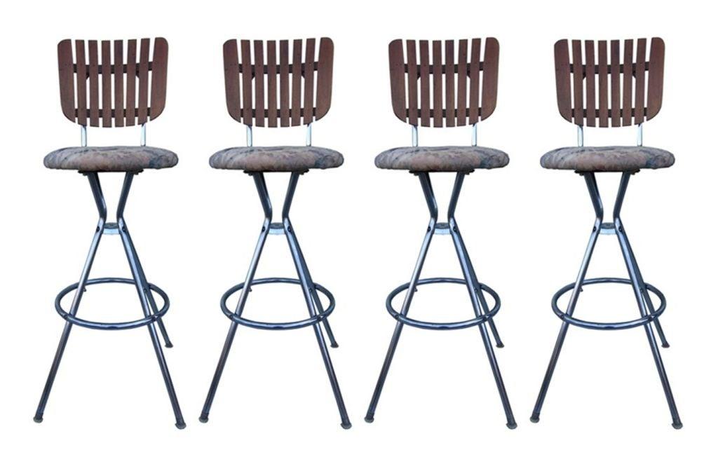 Four Barstools With Chrome Tubular Frame And Teak Slatted