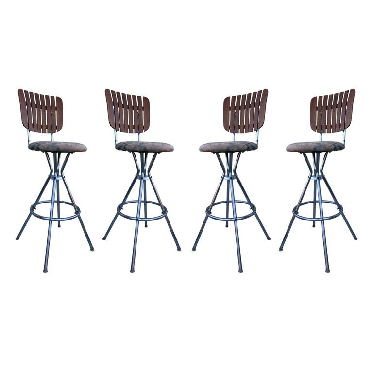 Four Barstools With Chrome Tubular Frame And Teak Slatted