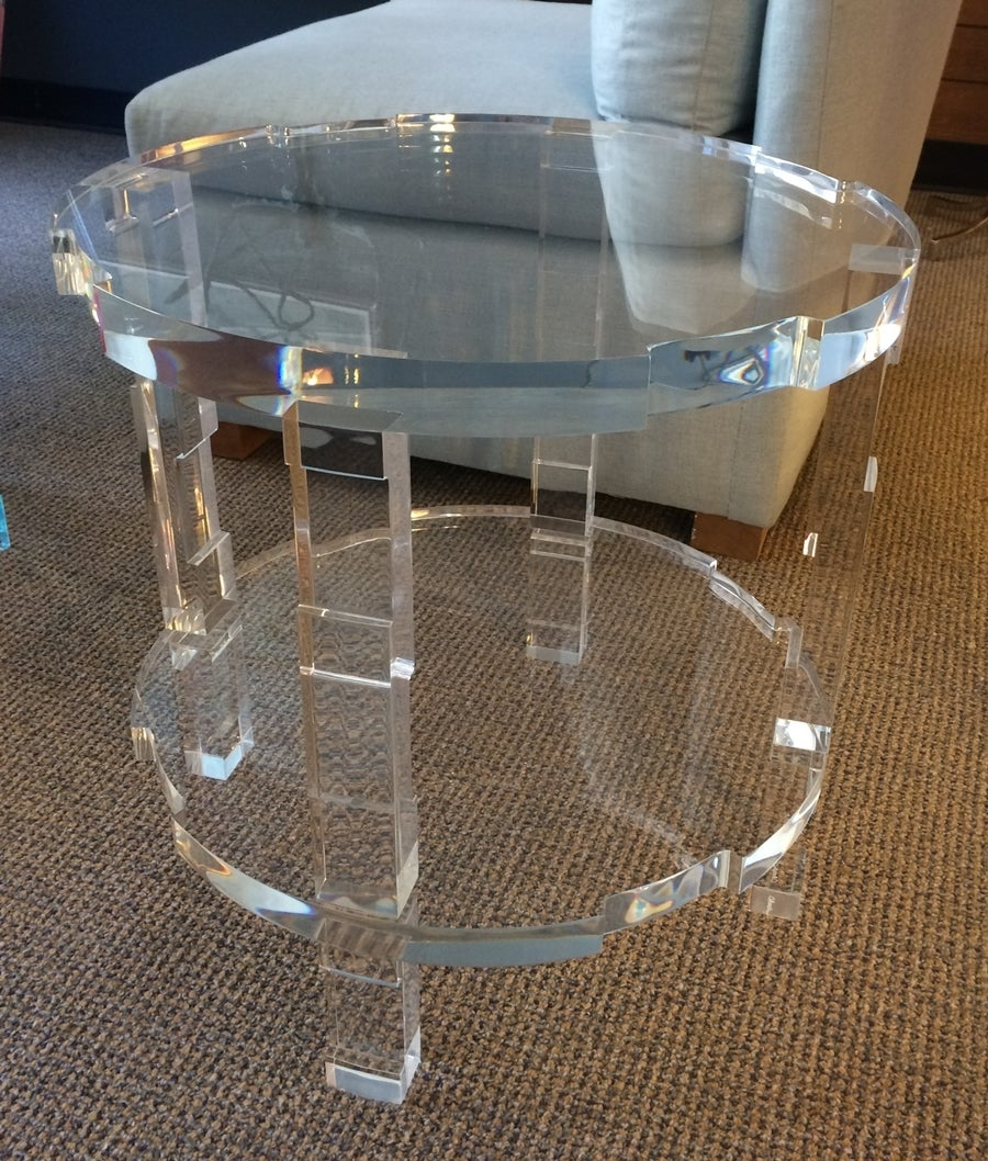 """Stunning pair of side tables designed in 2014 by Charles Hollis Jones for Cain Modern. The tables are made entirely out of 1 1/2"""" thick Lucite, the legs have a beautiful graduated design, the top and bottom shelf have wonderful architectural"""