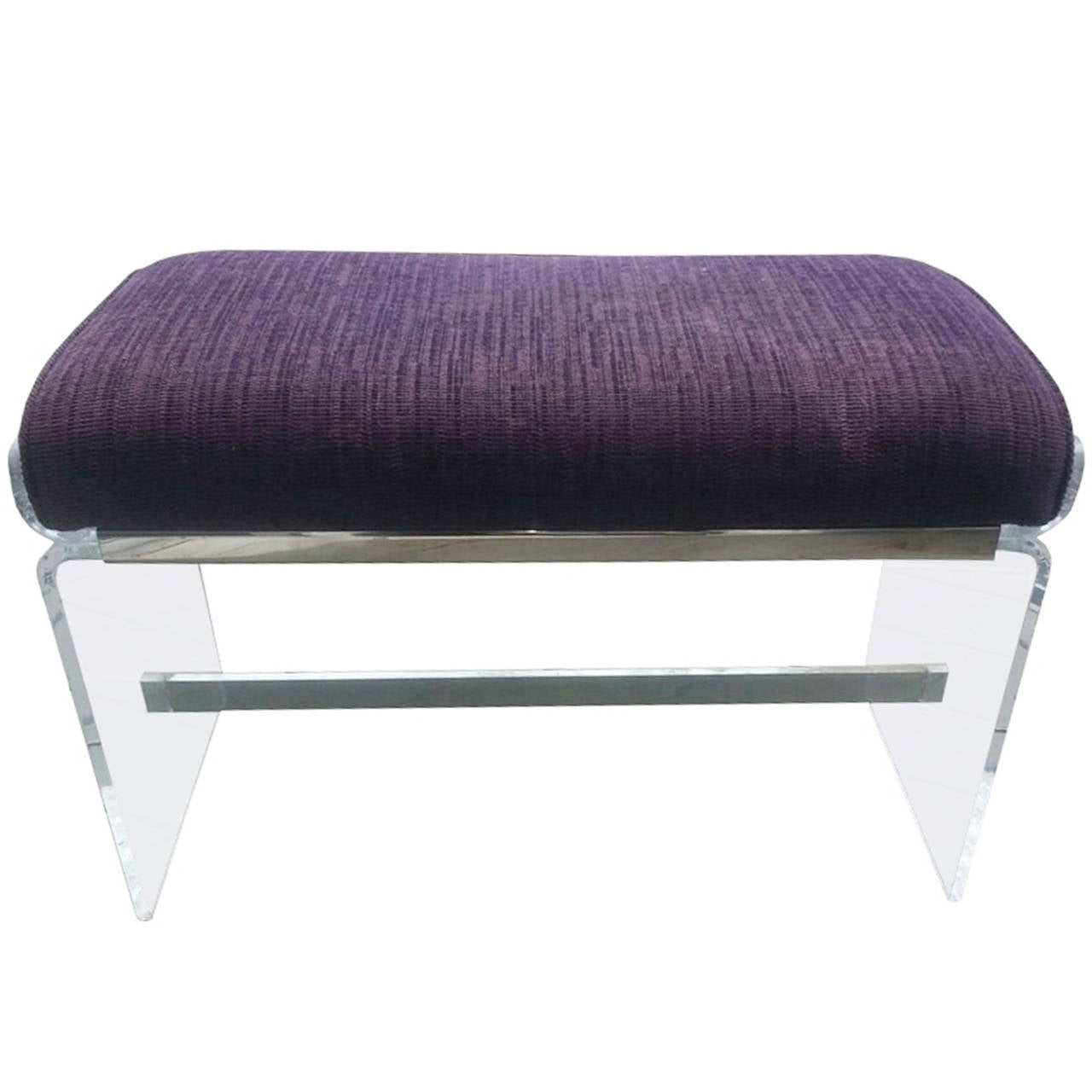 Molded Lucite Bench with Upholstered Seat by Charles Hollis Jones For Sale
