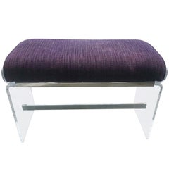 Molded Lucite Bench with Upholstered Seat by Charles Hollis Jones