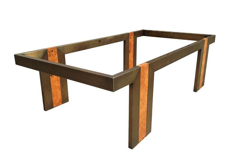 Burl Wood And Bronze Coffee Table With Smoked Glass Top At 1stdibs