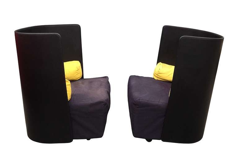 "Pair of ""Campo"" lounge chairs designed by Jonathan de Pas, Donatto D'Urbino and Paolo Lomazzi and manufactured by Zanotta in 1984, 