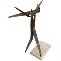 Brutalist Style Bronze Sculpture in a Marble Base by Trapani