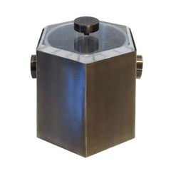 Brass and Lucite Ice Bucket by Charles Hollis Jones
