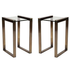 "Charles Hollis Jones ""Box Line"" Side Tables in Lucite and Burnished Brass"
