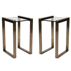 """Charles Hollis Jones """"Box Line"""" Side Tables in Lucite and Burnished Brass"""