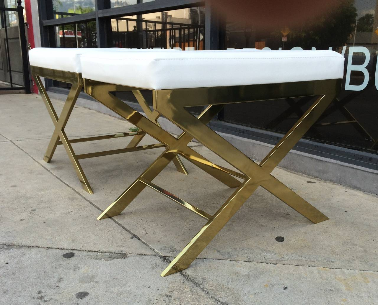 Pair of X-Frame Benches in Solid Brass by Charles Hollis Jones, Signed In Excellent Condition For Sale In Los Angeles, CA