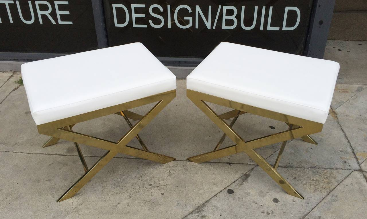 Pair of X-Frame Benches in Solid Brass by Charles Hollis Jones, Signed 2