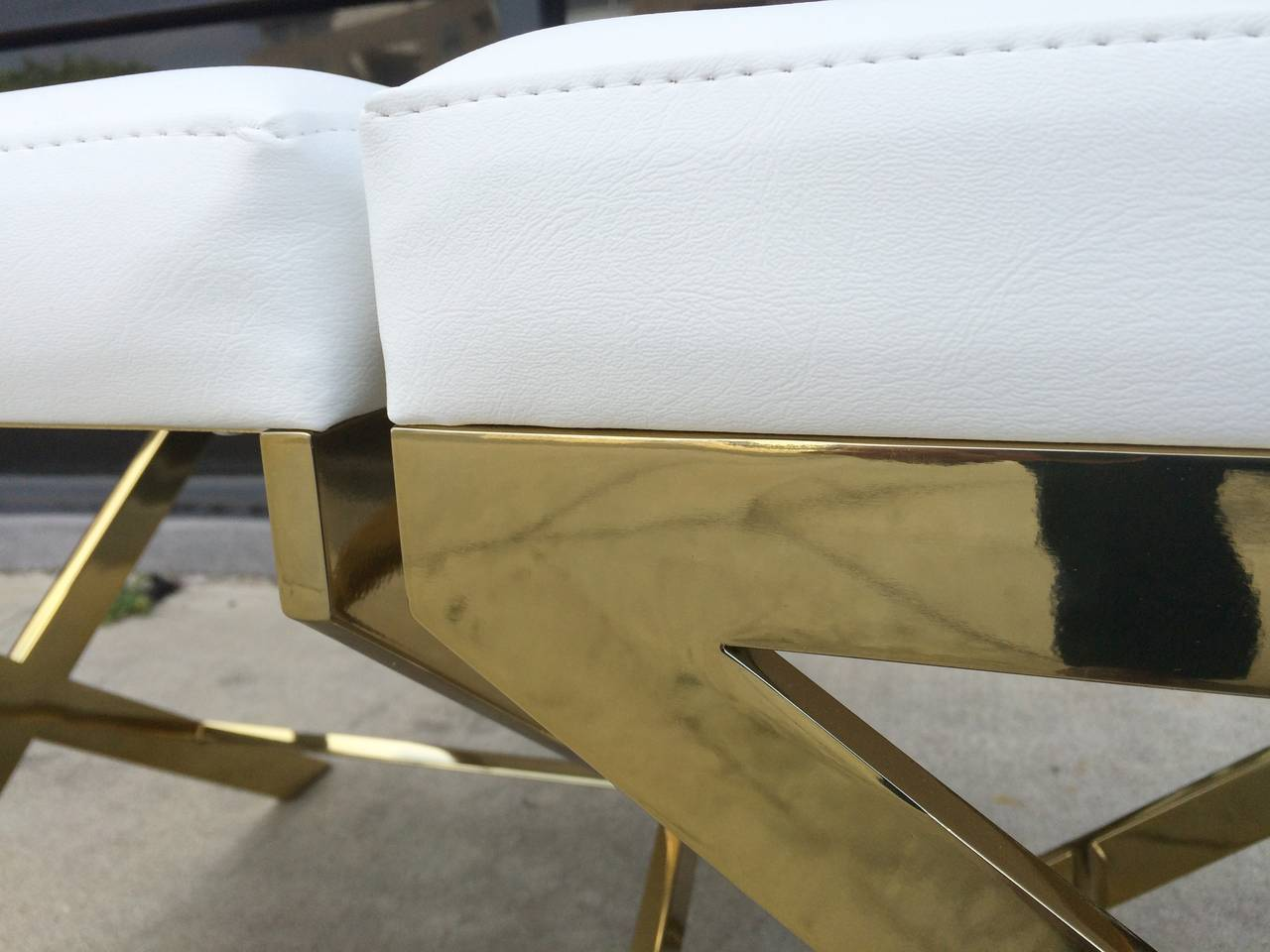 Contemporary Pair of X-Frame Benches in Solid Brass by Charles Hollis Jones, Signed For Sale