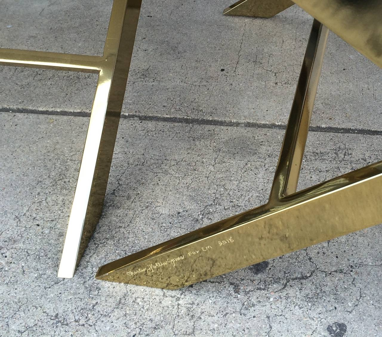 Pair of X-Frame Benches in Solid Brass by Charles Hollis Jones, Signed 3