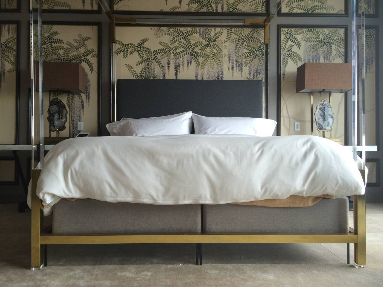 Brass And Lucite King Size Bed By Charles Hollis Jones For