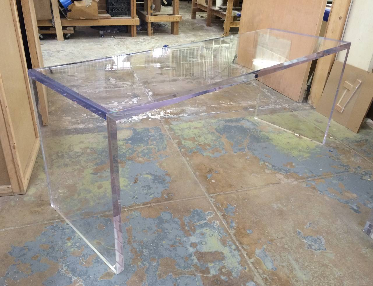 Beautiful Lucite Console Table by Cain Modern For Sale 2