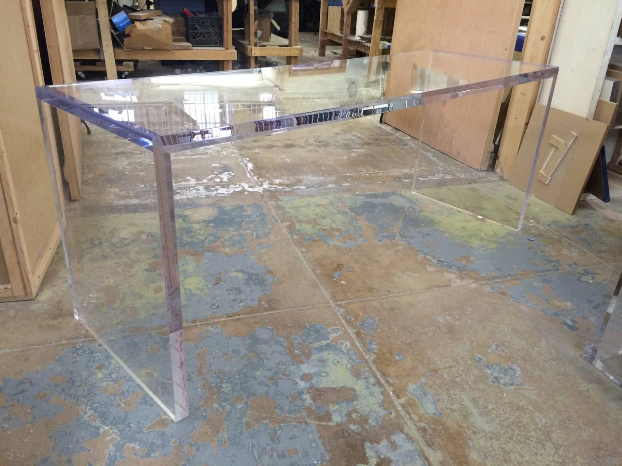 Contemporary Beautiful Lucite Console Table by Cain Modern For Sale