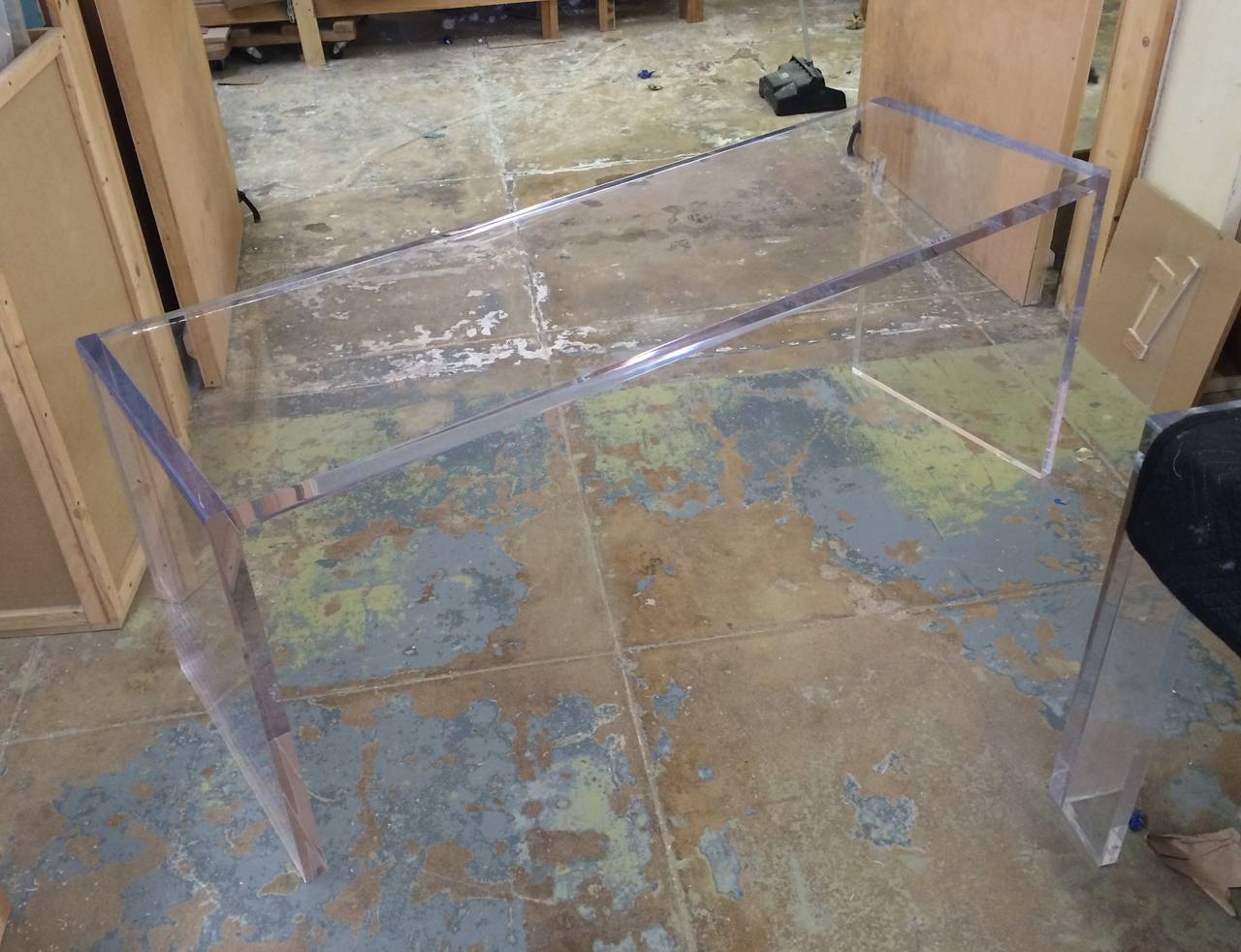 Beautiful Lucite Console Table by Cain Modern For Sale 1