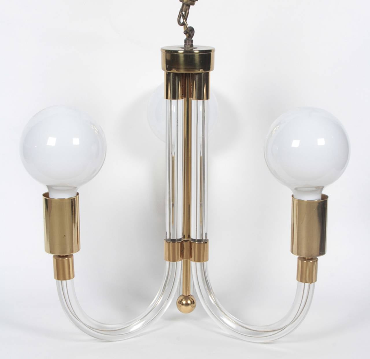 Fantastic Lucite and brass chandelier designed by Charles Hollis Jones in the 1960s.