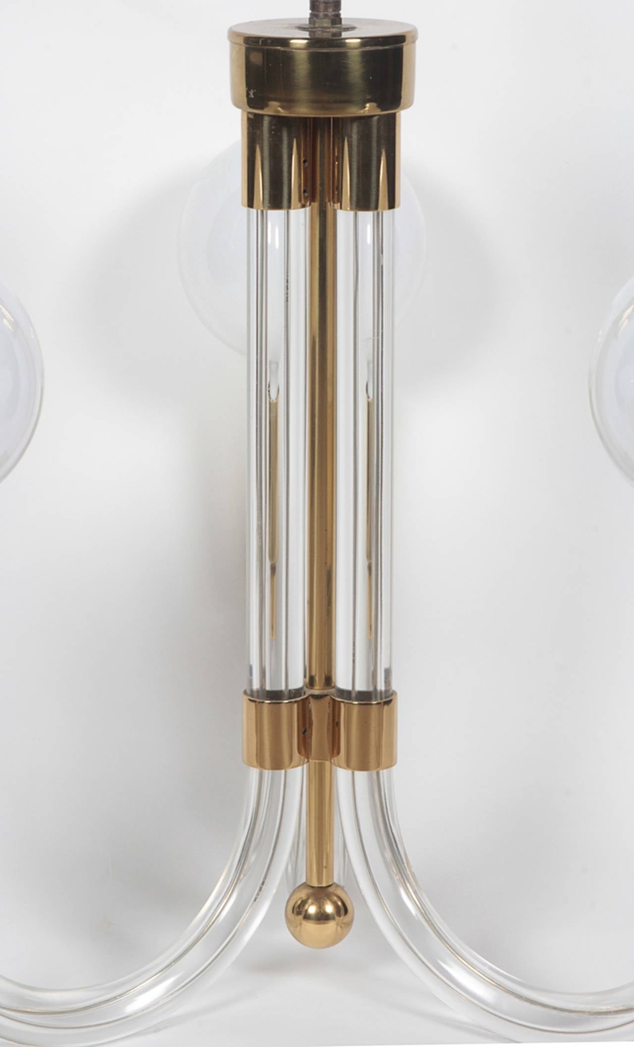 American Charles Hollis Jones Three-Arm Chandelier in Brass and Lucite, Signed and Dated For Sale