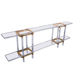 Narrow Console or Sofa Table in Solid Brass and Lucite by Charles Hollis Jones