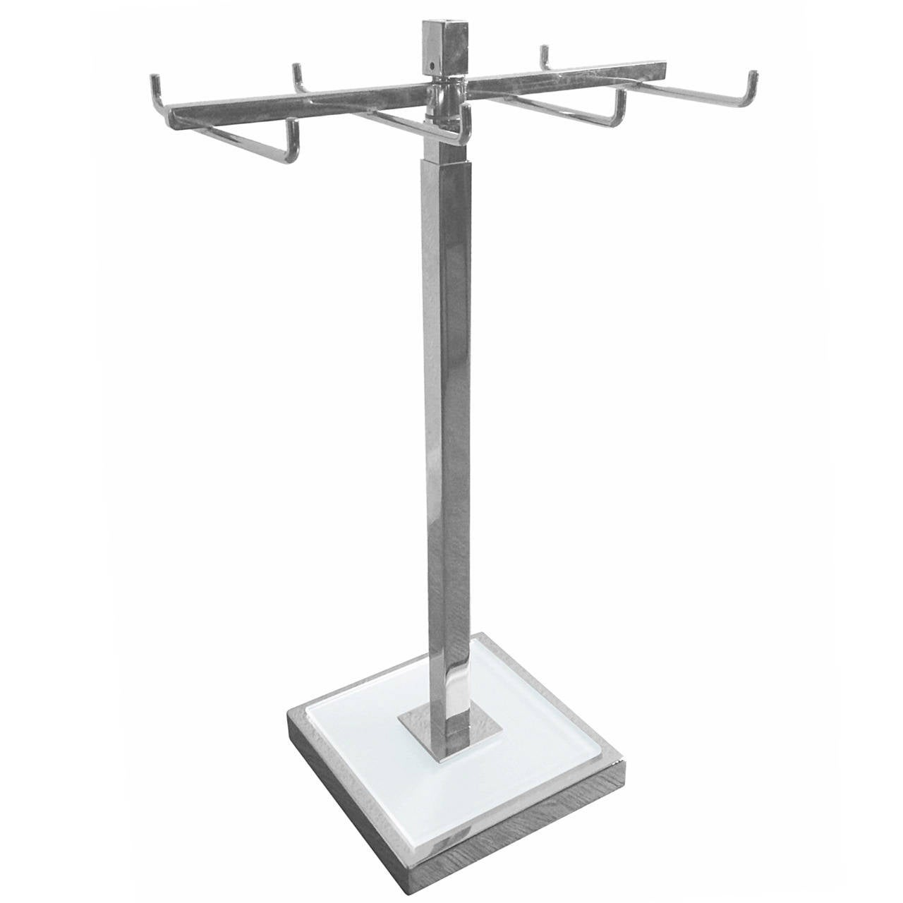 Height Adjustable Tie/Jewelry Holder in Lucite & Nickel by Charles Hollis Jones