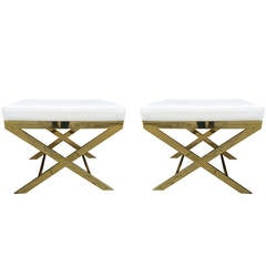 Pair of X-Frame Benches in Solid Brass by Charles Hollis Jones, Signed