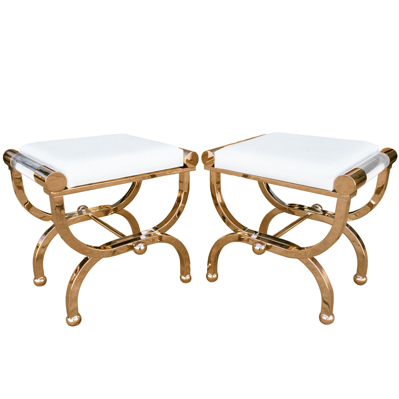 """Brass and Lucite """"Empire"""" Style Benches by Charles Hollis Jones"""