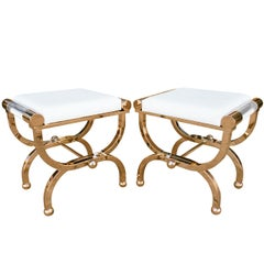 "Brass and Lucite ""Empire"" Style Benches by Charles Hollis Jones"