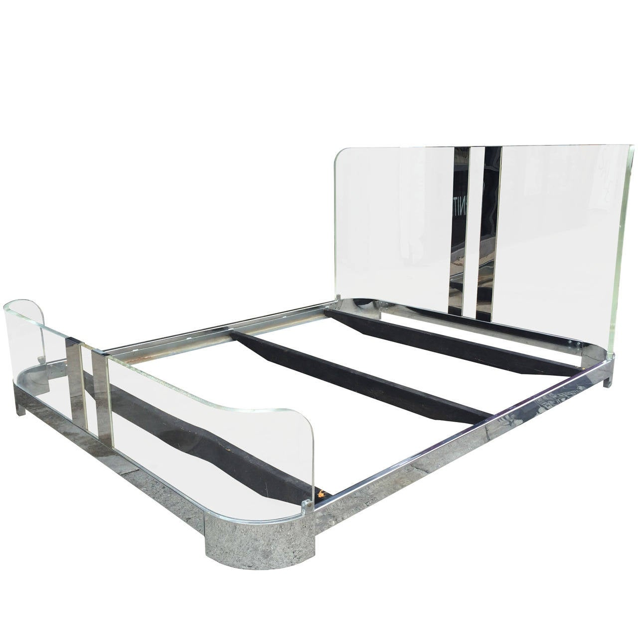 queen-size bed in lucite and nickelcharles hollis jones