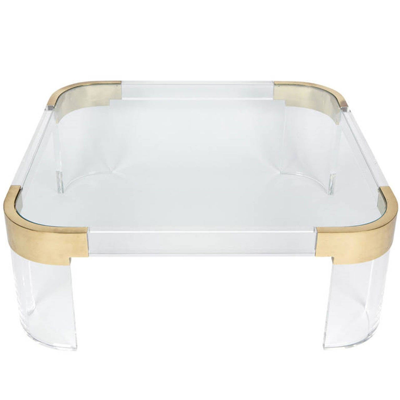 """Charles Hollis Jones Lucite and Solid Brass Coffee Table """"Waterfall Line"""""""