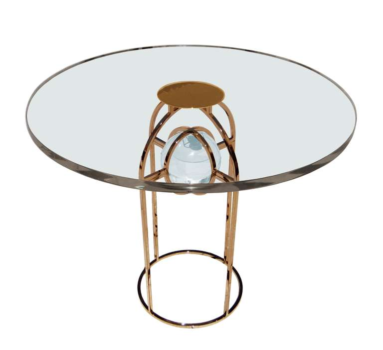 "Charles Hollis Jones ""Bullet"" Dining or Center Table in Solid Brass and Lucite 2"