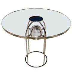 "Charles Hollis Jones ""Bullet"" Dining Table in Nickel and Lucite, Signed"