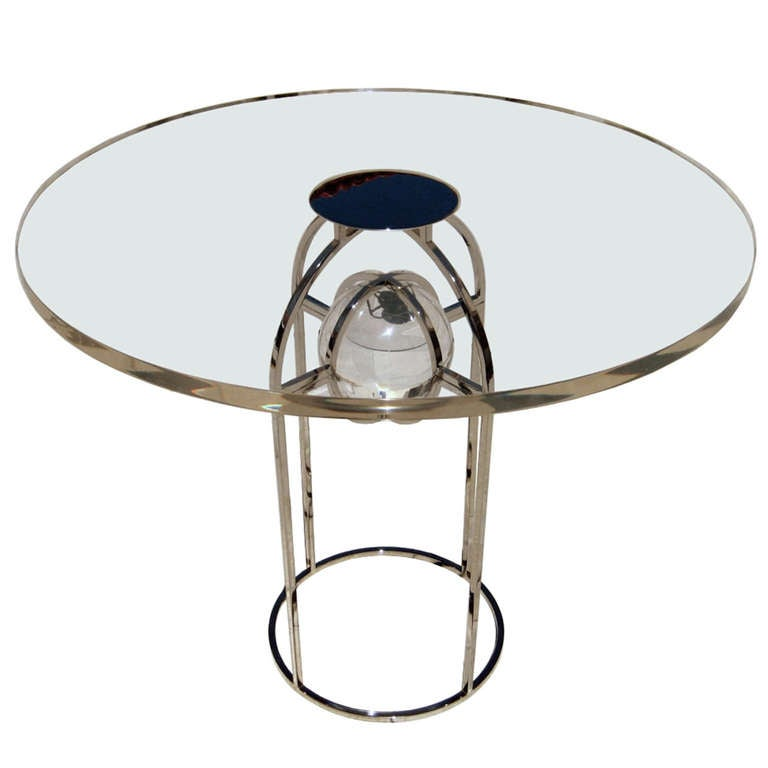 """Charles Hollis Jones """"Bullet"""" Dining Table in Nickel and Lucite, Signed"""