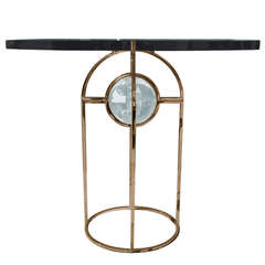 """Charles Hollis Jones """"Bullet"""" Dining or Center Table in Solid Brass and Lucite"""