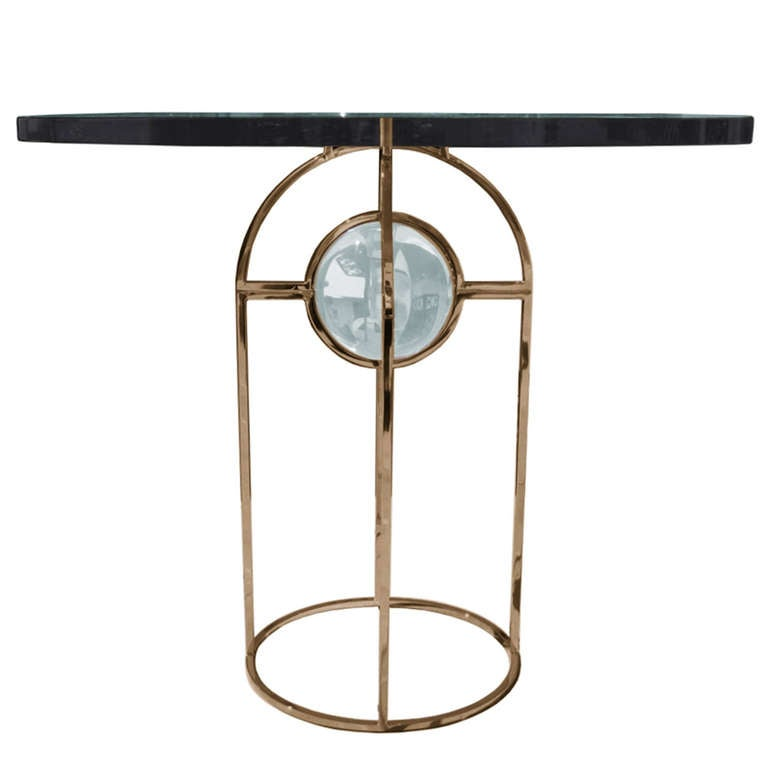 "Charles Hollis Jones ""Bullet"" Dining or Center Table in Solid Brass and Lucite 1"