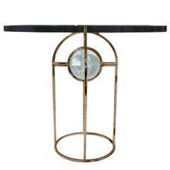 "Charles Hollis Jones ""Bullet"" Dining or Center Table in Solid Brass and Lucite"
