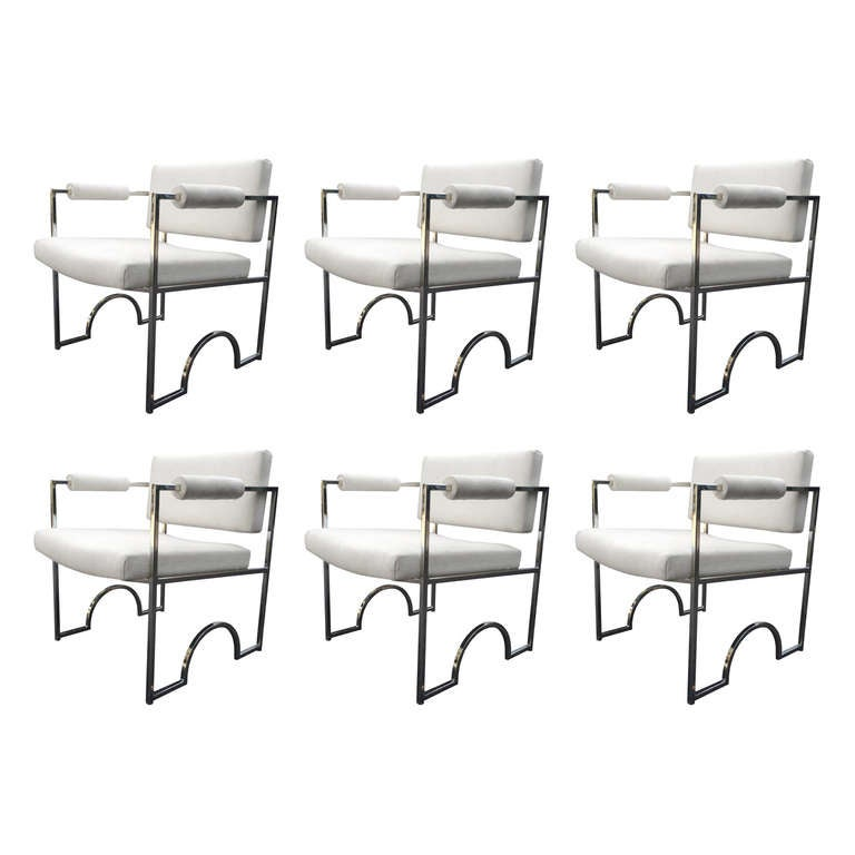 """Set of Six """"Oakland Raiders"""" Armchairs by Charles Hollis Jones in Polished Nicke"""