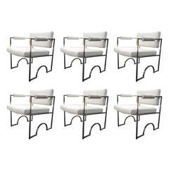 "Set of Six ""Oakland Raiders"" Armchairs by Charles Hollis Jones in Polished Nicke"