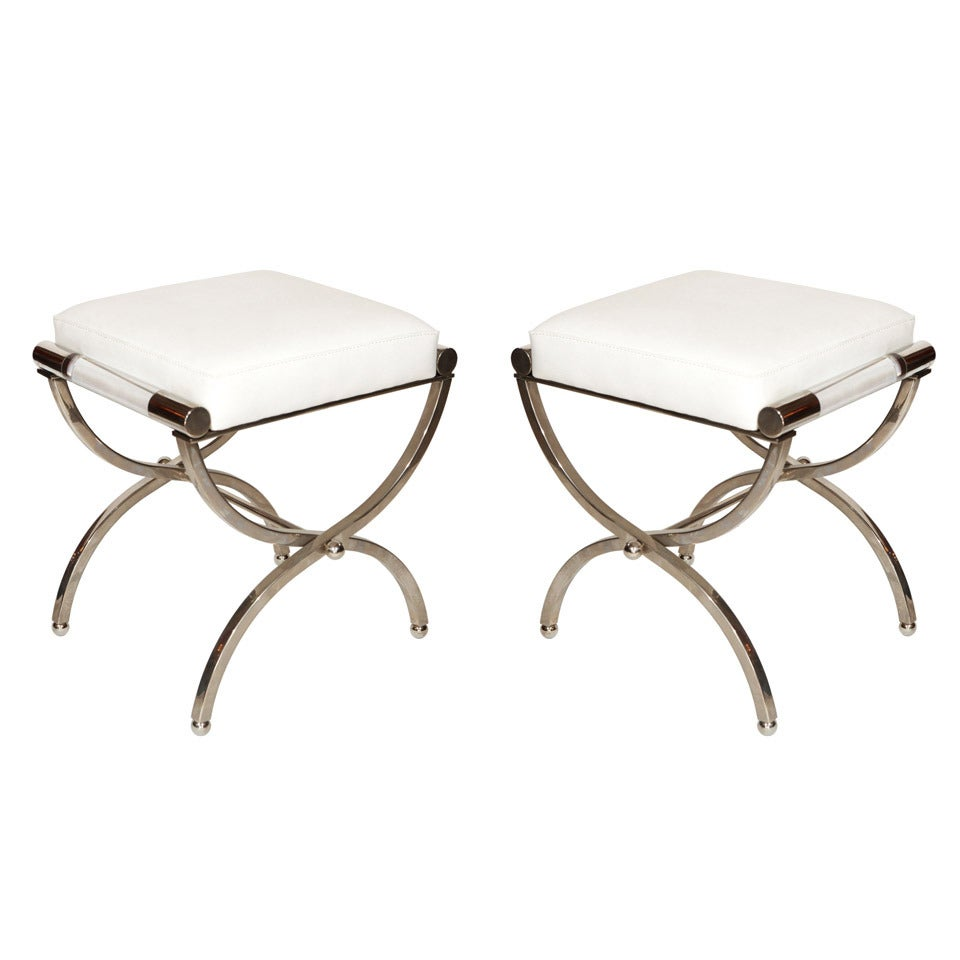 """Charles Hollis Jones """"Empire"""" Style Pair of Benches in Nickel and Naugahyde"""