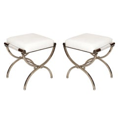 "Charles Hollis Jones ""Empire"" Style Pair of Benches in Nickel and Naugahyde"