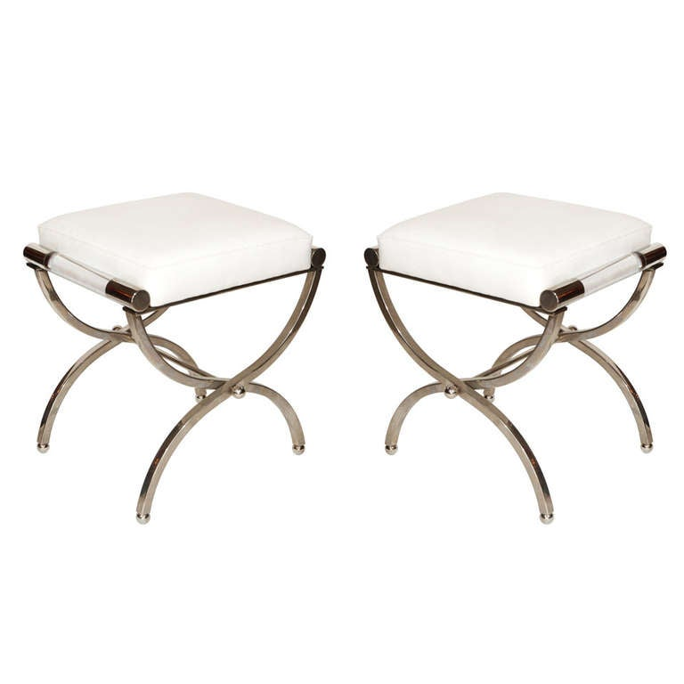 "Charles Hollis Jones ""Empire"" Style Pair of Benches in Nickel and Naugahyde 1"