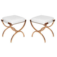 """Charles Hollis Jones """"Empire"""" Style Pair of Benches in Solid Brass and Naugahyde"""