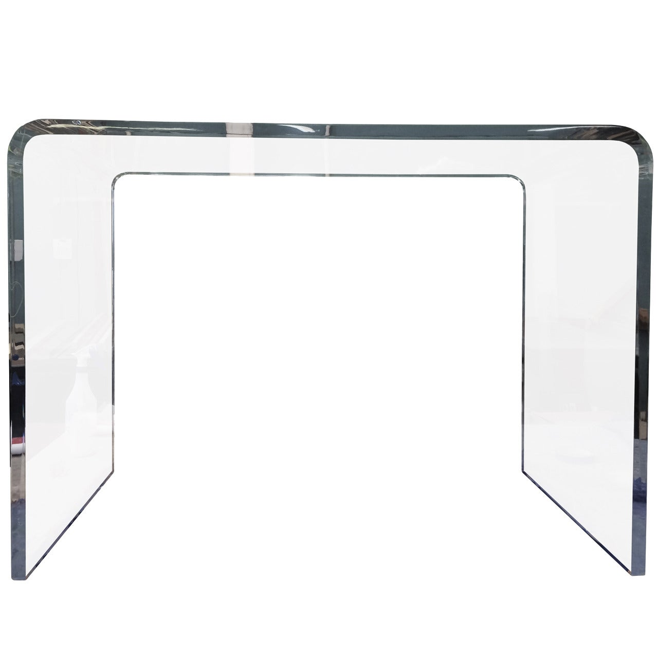 Waterfall Style Console Table in Lucite and Bullnose Edges