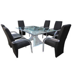 "Sculptural ""Odyssey"" Dining Set by Lion in Frost, Chairs and Table"