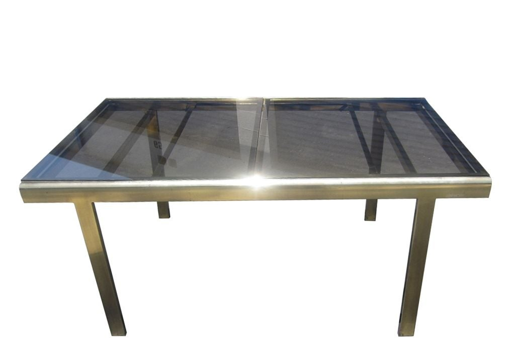 Expandable Mastercraft Dining Table In Brass And Smoked