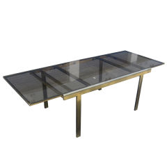 Expandable Mastercraft Dining Table in Brass and Smoked Glass