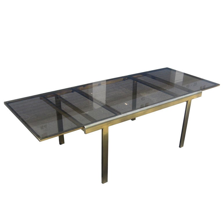 Expandable Mastercraft Dining Table in Brass and Smoked  : XXX881712858042761 from www.1stdibs.com size 768 x 768 jpeg 26kB